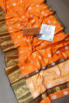 Orange color soft cotton silk saree with zari weaving work