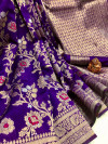Purple color soft banarasi silk saree with golden zari weaving work