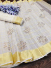 White color handloom kota doriya saree with zari woven border