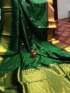 Jacquard weaving silk saree with golden zari work