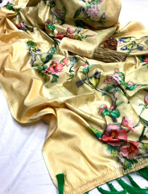 Cream color linen silk digital printed saree