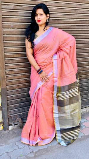 Pink color linen cotton saree