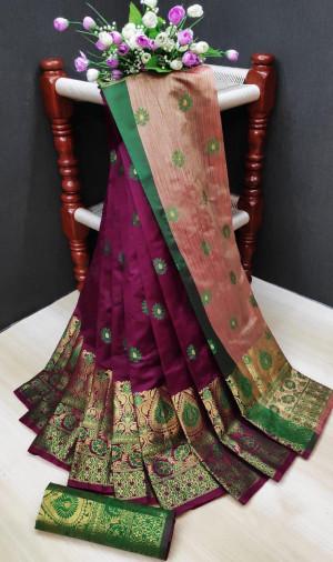 Magenta color soft lichi silk Weaving Jacquard work saree