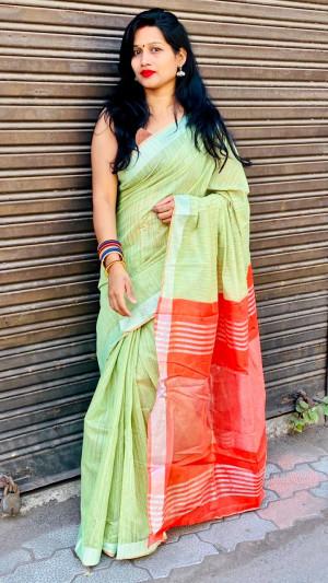 Pista green color linen cotton saree