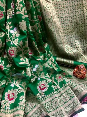 Green color soft banarasi silk saree with golden zari weaving work