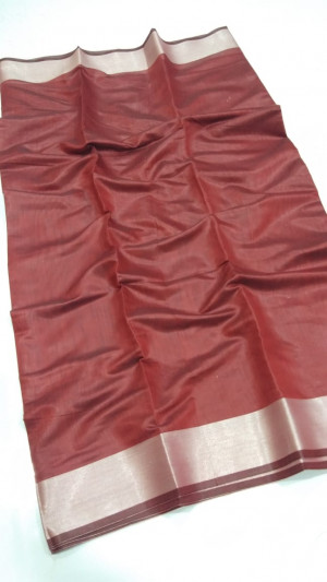Maroon color soft linen silk saree