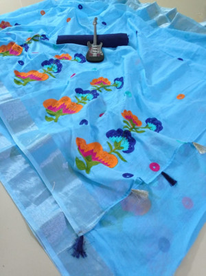 Firoji color semi linen saree with chain stitched work