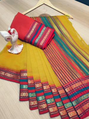 Yellow color manipuri kota doriya cotton saree