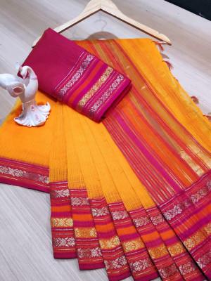 Mustard yellow color manipuri kota doriya cotton saree