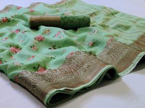 Green color linen saree with jacquard border