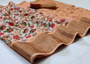 Peach color linen saree with jacquard border