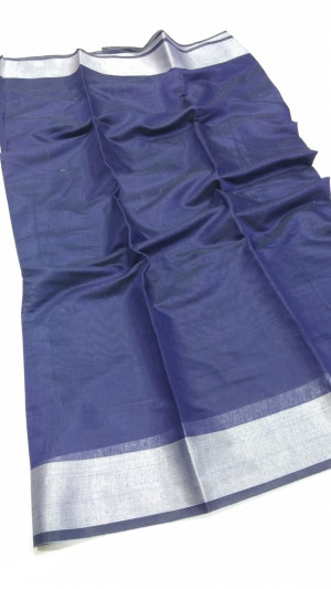Blue color soft linen silk saree