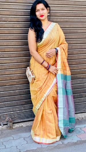 Yellow color linen cotton saree