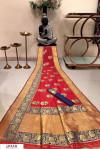 Red color Banarasi silk weaving meenakari saree