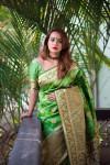 Green color Soft Banarasi Silk Weaving checkered Work saree