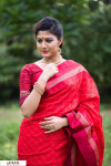 Red color Soft raw silk temple work saree