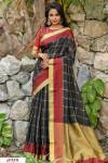 Black color Chanderi Cotton checkered Work saree