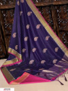 Navy blue color Soft Raw silk embroidered work saree
