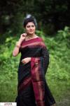 Black color Soft raw silk temple work saree