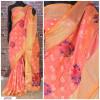 Peach color Handloom chanderi cotton weaving Work saree