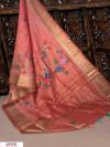 Pink color Pure Linen Digital printed saree