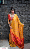 Yellow color Banarasi silk weaving Patola saree