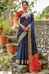 Blue color Handloom cotton weaving patola saree