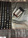 Black color Kanjivaram Soft Silk Zari work saree