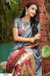 Grey color soft cotton weaving work saree