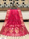 Red color Handloom cotton weaving saree