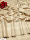 Cream soft cotton silk weaving work saree