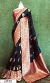 Black color Banarasi silk meenakari saree