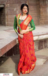 Red color Banarasi silk weaving Patola saree