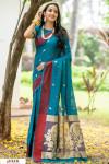 Rama green color soft cotton weaving work saree