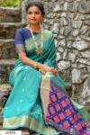 Sky blue color Handloom cotton weaving patola saree
