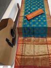 Rama Green color soft Banarasi silk Zari woven work saree