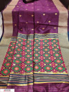Wine color soft Handloom cotton Woven work saree
