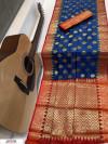 Blue color soft Banarasi silk Zari woven work saree