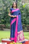 Blue color soft cotton weaving work saree