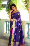 Navy blue color Soft raw silk embroidered saree