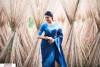 Blue color Soft raw silk temple work saree