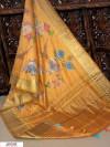 Yellow color Pure Linen Digital printed saree
