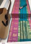 Blue color Soft kanchipuram silk weaving work saree