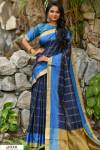 Blue color Chanderi Cotton checkered Work saree