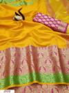 Yellow color Kota doriya jacquard weaving saree