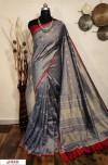 Gray color Raw silk checks border saree