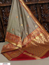Gray color Banglori raw silk zari woven work saree