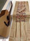 Cream color Soft muga silk Digital printed saree