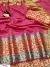 Pink color Kota doriya jacquard weaving saree