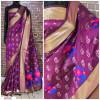 Wine color Handloom chanderi cotton weaving Work saree